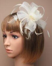 Bridal/Wedding Looped Ribbon Cream Large Flower Feather Fascinator Hair Comb