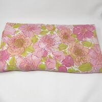 Vtg Wondercale Springmaid Twin Fitted Sheet Flowers No Iron Retro Pink Green MCM