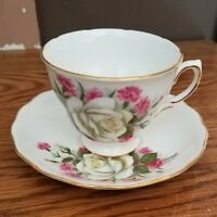Vintage Royal Vale Bone China Tea Cup & Saucer White Roses Made in England