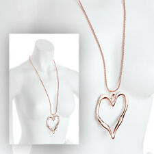 Rose Gold Effect Heart Pendant Chain Necklace RRP £6.00 - Brand New + Tags