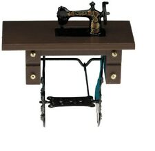 Dollhouse Miniatures 1:12 Scale Sewing Machine on Walnut Stand #CLA07782