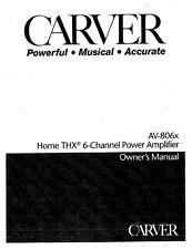 Carver AV-806x Amplifier Owners Manual