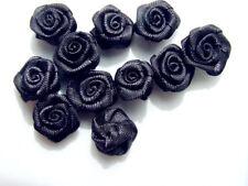 20 Grey Satin Ribbon Roses 15 mm Wedding Invitations Card Dress Embellishment