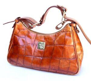 Dooney & Bourke Brown Leather Croc Embossed Shoulder Tote Handbag Purse Medium