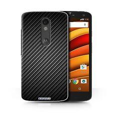Case/Cover for Motorola Moto X Force / Carbon Fibre Effect/Pattern / Grey
