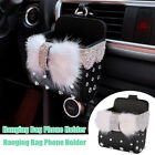 Bling Rhinestones PU Car Air Conditioner Outlet Hanging Phone Bag Storage Stand photo
