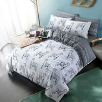 Duvet Cover Set - Double Reversible Bedset Cotton Monochrome Design  Bedding Set
