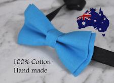 Men Women 100% Cotton BRIGHT BLUE Solid Craft Bow Tie Bowtie Wedding Party
