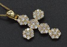 14K Solid Yellow Gold Round Created Diamond Cross .50Ct Pendant