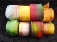 "100% Silk Ribbon-Hanah Hand-Dyed, Bias-Cut 1 1/2"" Wide Priced per Yard"