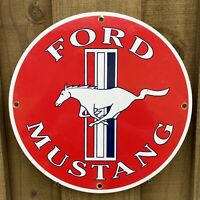 VINTAGE FORD MUSTANG PORCELAIN METAL SIGN USA AUTO OIL GAS STATION GARAGE LUBE