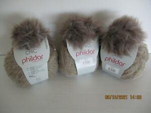 PHILDAR - NEUVES 3 PELOTES DE LAINE de couleur Beige - 65 gr - TBE -