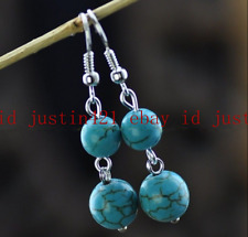 Natural 8-10mm Blue Turquoise Round Gemstone Beads 925 Silver Dangle Earrings