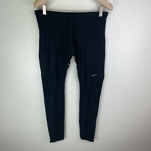 Nike Running Dri-Fit Womens Black Running Gym Compression Leggings Size M Medium
