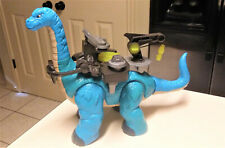Fisher Price Imaginext Large Blue Dinosaur Apatosaurus W/ Battle Gear