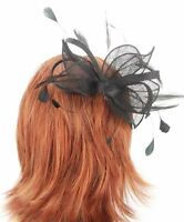 Black Sinamay Bow Hair Fascinator with matching Shaped Feathers Sprung Clip