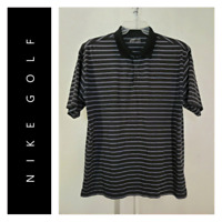 Nike Golf Men Casual Short Sleeve Dri fit Striped Polo Shirt Size XL Black