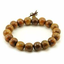 BROWN WOOD WRIST MALA 12mm Prayer Bead Bracelet Stretch Jewelry Natural Buddhist