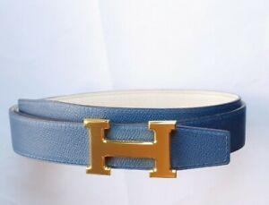 """Authentic Hermes Gürtel mit """"H""""  Goldener schließe Wendegürtel Bleu Agate/Blanc"""
