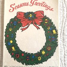 Seasons Greetings Wreath Window Sticker Cling Christmas Decoration Limpy Vintage