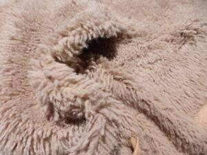 sheepskin shearling leather hide Long Curly Ringlet Hair Mocha Brown