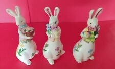 Set of 3 Ceramic Tall Gardening Bunny Rabbits