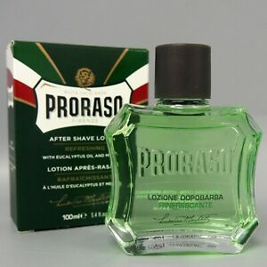 PRORASO Green After Shave LOTION With Eucalyptus & Menthol For Men, 100ml/3.4oz