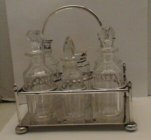 Antique Silver Plate Cut Glass Cruet Set & Holder Marked and Tested