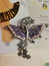 AD192 Art Deco Vintage Gold Lilac crystal lady Fairy Moon Star Wings Brooch