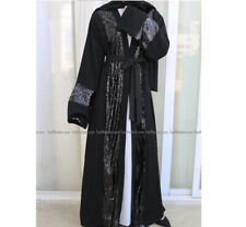 Abaya Dubai Style Muslim Womens Open Front Cardigan Islamic Long Maxi Dress - M