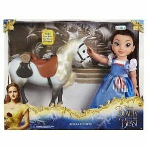 Disney Beauty and the Beast Belle Blue Dress Doll w Philippe Horse Play set