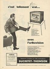 Publicité 1957  Téléviseur Récepteur de radio Electrophone DUCRETET - THOMSON