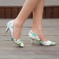 Fashion Womens Pointy Toe Flower Slip On Pumps Stiletto Heels Floral Party Shoes