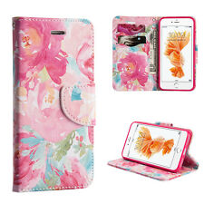 For iPhone 7+ Plus PINK WATERCOLOR FLOWERS Card ID Wallet Diary Pouch Case Cover