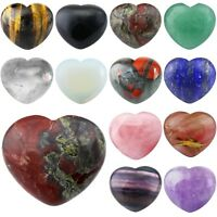 "Carved Puff Heart Love Worry Stone Pocket Palm Crystal Healing Reiki Chakra 1.6"""