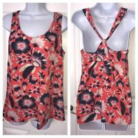 J.Crew Floral Printed Twist Back Tank Top Blouse Size 6 Billowy Flowy