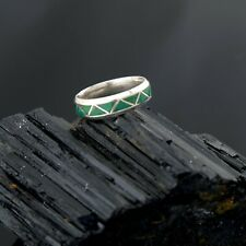 Vtg Sterling Silver Navajo Turquoise Inlay Geometric Ring Mens sz 8.5
