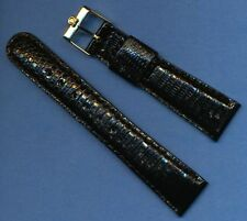 Vintage Gold Plated Omega Buckle & Black 20mm Genuine Lizard Strap Leather Lined