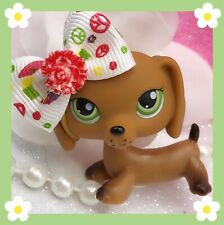 Littlest Pet Shop # 139 Brown Dachshund Green Dot Eyes Authentic RED MAGNET LPS