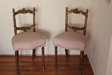 Pair of French Louis XVI Style Gilt Gold Wood Accent Chair