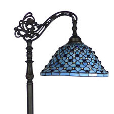 BLUE HEPPLE BRIDGE TIFFANY STYLE FLOOR LAMP LEADLIGHT - WILL SHIP AUSTRALIA WIDE