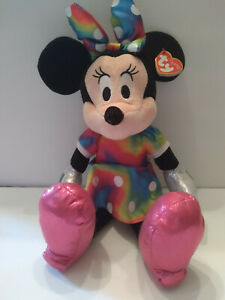 "New With Tags Ty Plush Minnie Mouse Tie Dye Sparkle Dress 13"" Disney"