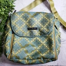 Petunia Pickle Bottom Green Embroidered Brocade Boxy Backpack Diaper Bag