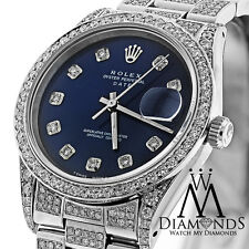 Women's Diamond Rolex Date 34mm Navy Blue Diamond Dial & Oyster Band