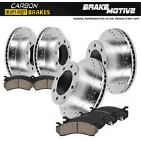 For Ram 2500 3500 Front + Rear Drill Slot Brake Rotors + Carbon Ceramic Pads