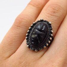 Vtg Sterling Silver Tribal Mask Carved Black Onyx Gemstone Wide Ring Size 4.5