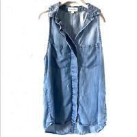 Cloth & Stone Women's Chambray Sleeveless Button Down Small