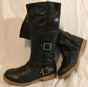 Ladies Black Mid Calf Leather Lovely Boots Size 38 (743Q)