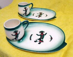 Vintage SIMS California pottery Mid-century twin set mugs and plates