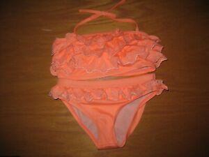 NWT Gymboree Swim Shop 2017 Size 7-8 Peach Eyelet Ruffle Bikini Swimsuit